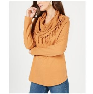 STYLE & CO Frinfge-Trimmed Cowl-Neck Sweater
